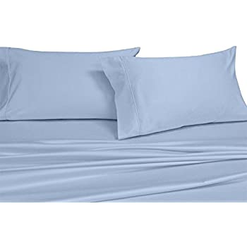 Royal's Solid Blue 250-Thread-Count 4pc King Bed Sheet Set 100-Percent Cotton, Superior Percale Weave, Crispy Soft, Deep Pocket, 100% Cotton