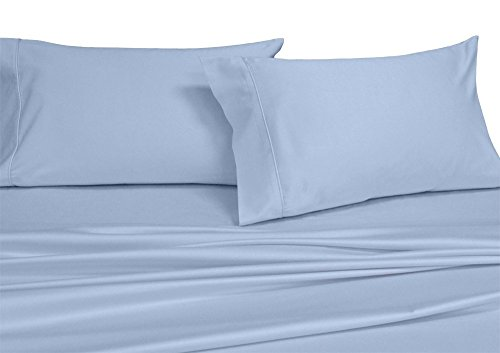 Royal's Solid Blue 300-Thread-Count 4pc Queen Bed Sheet Set