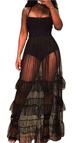(TshineY Women Sleeveless Sheer Mesh Bodycon Maxi Dress Bodysuit Party Clubwear Black)