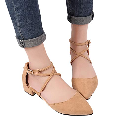 Ballet Flat Shoes for Women Closed Pointed Toe Criss-Cross Elastic Ankle Strap Summer Comfort Sandals (US:7.0, Pink3) ()