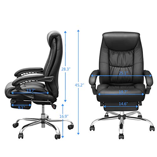 Duramont Reclining Office Chair with Lumbar Support - High Back Executive Chair - Thick Seat Cushion - Ergonomic Adjustable Seat Height and Back Recline - Desk and Task Chair by Duramont (Image #5)