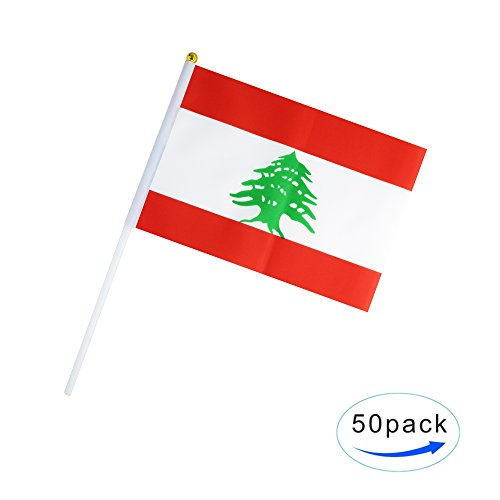 50 Pack Hand Held Lebanon Flag Lebanese Flag Stick Flag Round Top National Country Flags,Party Decorations Supplies For Parades,World Cup,Sports Events,International Festival (8.2