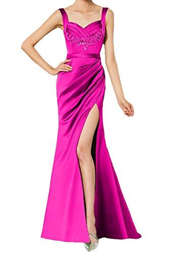 Partykleid Abendkleid Schlitz Rueckenfrei Damen Aermellos Traeger Satin Ballkleid Falte Ivydressing Spitze Strass Elegant Pink xTwq1ABn6