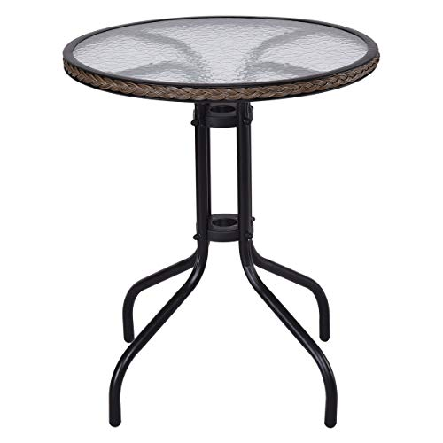 Tangkula 24 Patio Table Garden Yard Outdoor Lawn Indoor Tempered Glass Top Steel Frame Coffee End Side Table (Wicker Round)