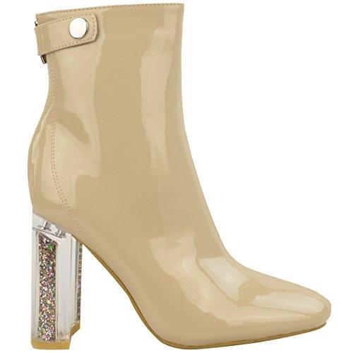 Pointure Bottines Femmes Bloc Haut Mode Perspex Paillette Chaussures Neuf Talon Pour Mesdames CPRtqt