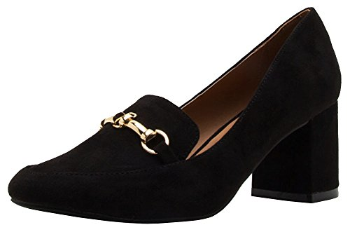 Qupid Women's Closed Pointed Toe Horsebit Chunky Stacked Block Heel Loafer Pump (7 B(M) US, - Preppy 90s
