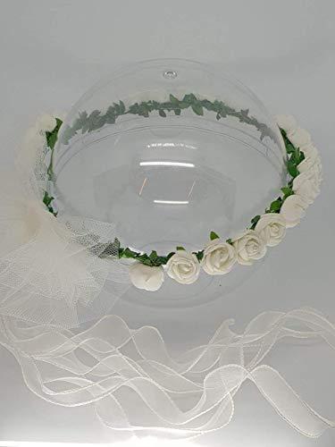 Coroncina di fiori per capelli damigella-prima comunione con rose ... 6380b3b4c5c1