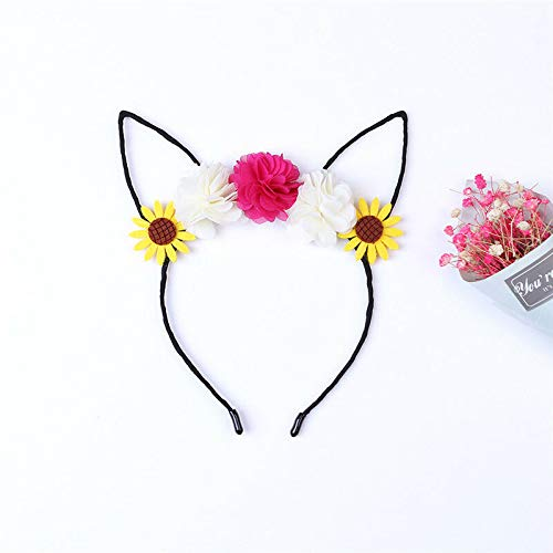Cat Ears Flower Headband Hair Band Headwear Cosplay Costume Accessories Gift (Styles - -