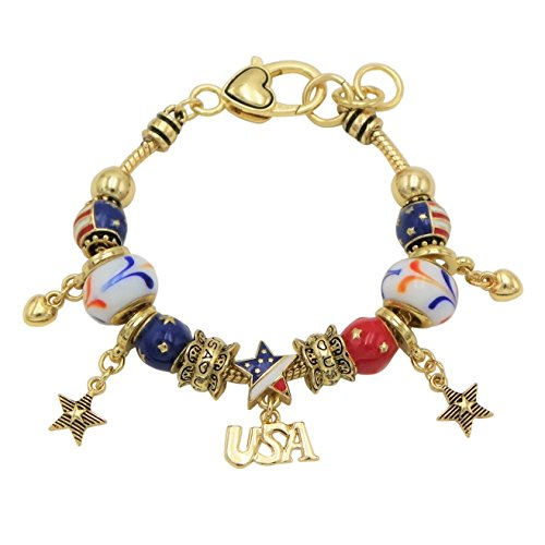 Gold American Flag Charm (Rosemarie Collections Women's USA American Flag Glass Bead Charm Bracelet (Gold Tone))