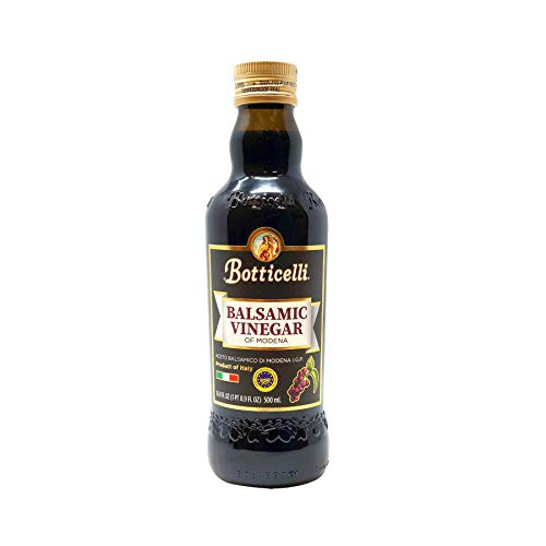 Botticelli Balsamic Vinegar of Modena. Smooth, Dark and Authentic Vinegar Produced in Modena, Italy. Perfect for Salads, Desserts, Dipping Bread, with Extra Virgin Olive Oil and Cooking (16.9oz/500ml)