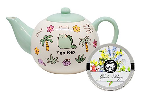 Pusheen Tea Rex Stoneware Tea Pot and Caffeine Free Garden Therapy Tea
