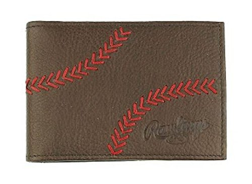 Leather Baseball Stitch - Rawlings Men's Home Run Front Pocket Wallet, Brown, OS