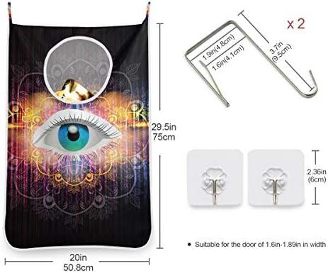 ライトブルーアートアイ 折り畳み式ショッピングトートバッグ再利用可能な食料品ポータブル収納ショルダーバッグ女性女の子ハンドバッグ