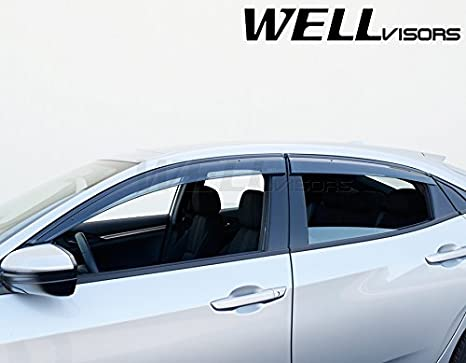 Amazon.com: WellVisors Side Window Wind Deflector Visors - Honda Civic 4 Door Hatchback 17-up 2017 2018 With Black Trim: Automotive