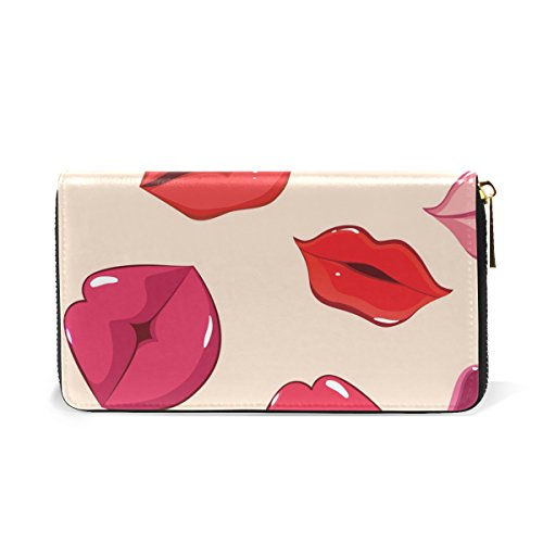 Handbags Lips Organizer Zip Clutch Womens TIZORAX Wallet Of Purses And Print Around 81RqqOwT6
