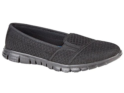 Ladies Flexi Surf Comfort Plimsoll Casual Walk Pumps Sports Trainer Holiday Go Shoes Size 4-8 Pulse:Black N9sCINX