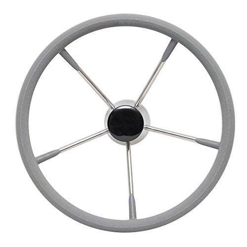 SeaLux Marine Stainless Steel Steering Wheel, 15.5'' Diameter, 25 Degree Dish, Grey Form Comfort Grip by SeaLux Marine Products