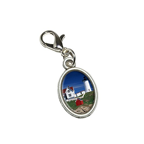 Lighthouse Clasp - Graphics and More Nubble Lighthouse Maine - Rowboat Antiqued Bracelet Pendant Zipper Pull Oval Charm with Lobster Clasp