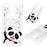 LG Stylo 4 Case, LG Stylus 4 Plus Clear Liquid Glitter Case Drop Resistant Bling Shiny Sparkle Flowing Moving Hearts Shock Absorption Soft TPU Bumper Colorful Painting Cover for LG Q Stylus - Panda