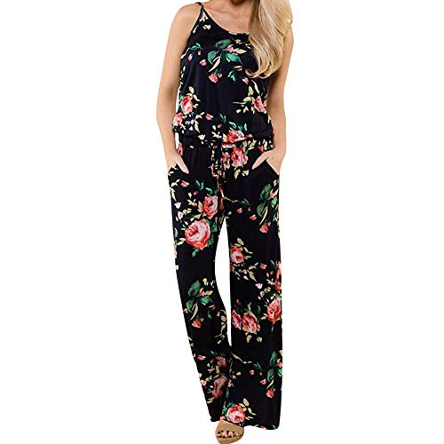 (Womens Boho Jumpsuit, Ladies Printing Sleeveless Long Playsuits Sexy Camisole Comfy OffTheShoulder Rompers ❤️Sumeimiya Black)