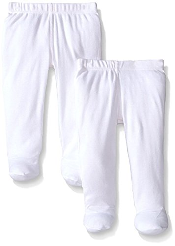 Infants Footed Pant - Monvecle Unisex Baby Set of 2 Organic Footed Pants Soft Cotton Underwear Pants White 3M