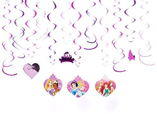 Disney Princess Sparkle Swirls Birthday Party Decorating Kit (12 Pack), Purple/Pink, .