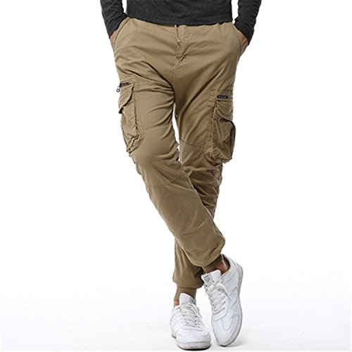 Jongood Trendy Mens Tactical Cargo Pants Men Joggers Army Military Casual Cotton Pants Hip Hop Ribbon Male Army Trousers 38 Khaki ()