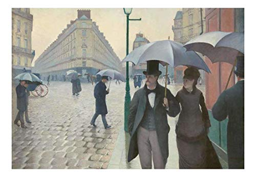 Paris Street Rainy Day by Gustave Caillebotte French Impressionist Peel and Stick Large Wall Mural Removable Wallpaper