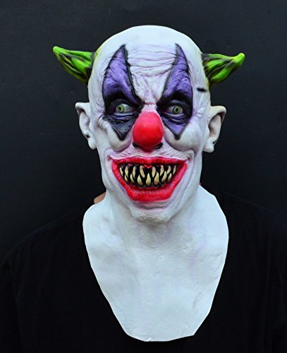 X-Merry Scary Creepy Halloween Clown Evil Latex Mask - Green Horned -