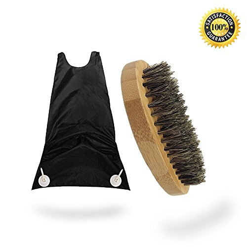 Aptoco Beard Catcher Hair Trimmer and Beard Brush Set Made with Boar Bristles and Firm Natural Wood Perfect Beard Grooming Kit for Men