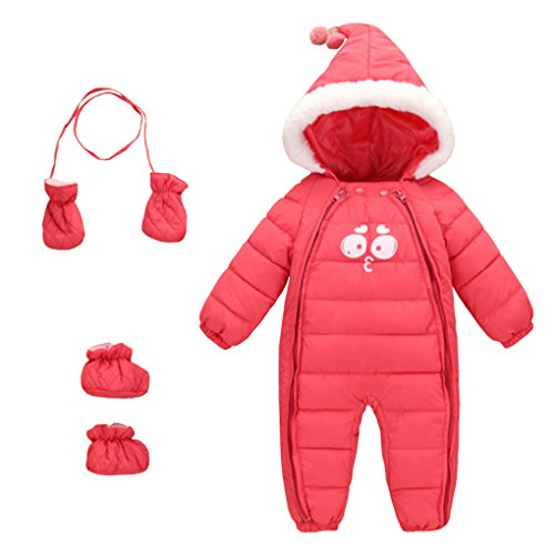 Baby Winter 3 Piece All in One Hooded Snowsuit Puffer Romper Thick Down Jumpsuit Sleepsuit Bodysuit Padding Onesie Warm One-Piece with Gloves and Shoes Pink Size 90