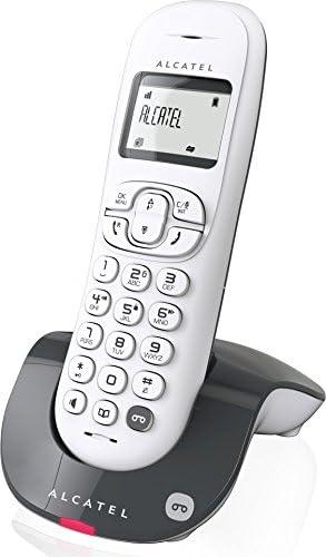 Alcatel C250 - Teléfono (Teléfono DECT, Terminal inalámbrico, Altavoz, 20 entradas, Identificador de Llamadas, Antracita, Blanco)