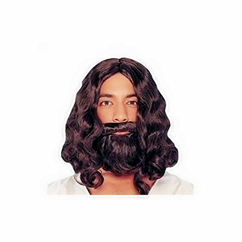 Halloween Costume Men Long Hair (BlueSpace Wigs Men's Brown Short Curly Hair and Mustache Heat Resistant Fiber With Free Wig Cap Halloween Cosplay Costume Party Anime Wigs)