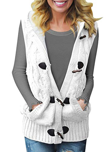 Dokotoo Womens Fashion Plus Size Ladies Winter Casual Hooded Cardigans Button Open Front Sleeveless Cable Knit Ribbed Sweater Waistcoat Vest Coat Outwear White X-Large