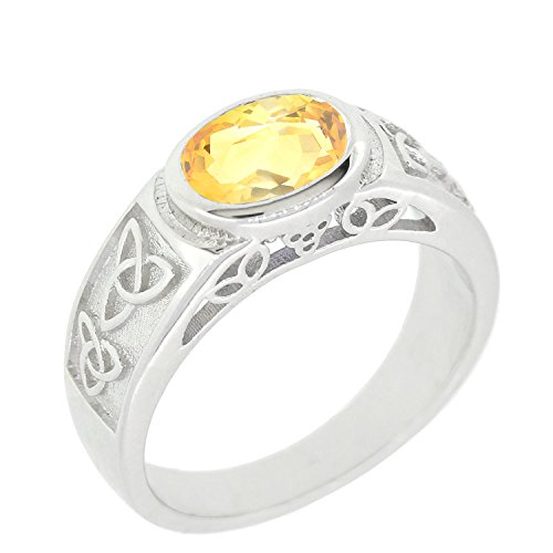 BL Jewelry Sterling Silver Natural Gemstone Amethyst Citrine Garnet Peridot Celtic Knot Ring (5, citrine)