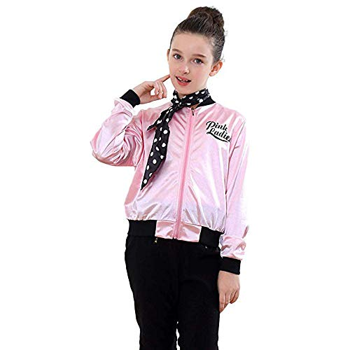 Fiaya Little Girls 1950s Pink Ladies Jacket Satin Jacket Coat Danny Halloween Costume Polka Dot Neck Scarf 4-7 Years Old (Pink1, 4-5 Years) -