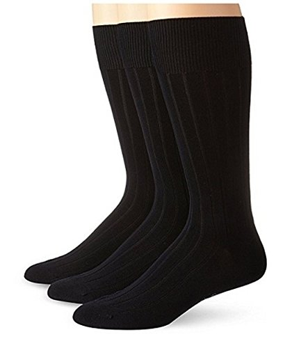 (RiteFIT Mens Extra Wide Comfort Fit Diabetic Ribbed Dress Socks 3 Pair Non-binding Cotton with Hand Linked Toe Seam)
