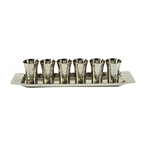 Yair Emanuel Wine Cup Set in Nickel with Hammered Pattern - Hammered Nickel Part