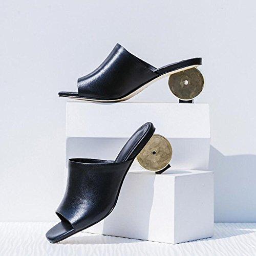 mujeres verano pie del las talones las del talones de novedad cómodas de abierto altos talón ocasionales verano GAOLIXIA del Sandalias de romanas del zapatillas de dedo del de Black Retro bomb los cuero las RnOqzSxwX7