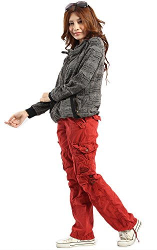 Womens Urbanboutique combate carga ocasional de seis militares del Ejército de algodón bolsillo pantalones pantalones �?Rojo