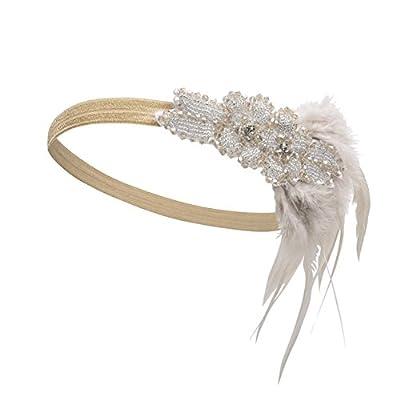 Kayamiya Women's 1920s Gatsby Headband Feather Art Deco Inspired Wedding Flapper Headpiece