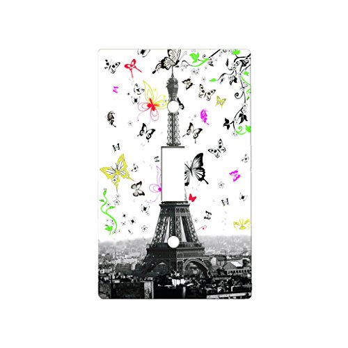 Eiffel Tower Butterfly Swoop - Decor Single Switch Plate Cover Metal