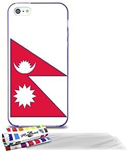 """Carcasa Flexible Ultra-Slim APPLE IPHONE 5 de exclusivo motivo [Bandera Nepal ] [Violeta] de MUZZANO  + 3 Pelliculas de Pantalla """"UltraClear"""" + ESTILETE y PAÑO MUZZANO REGALADOS - La Protección Antigolpes ULTIMA, ELEGANTE Y DURADERA para su APPLE IPHONE 5"""