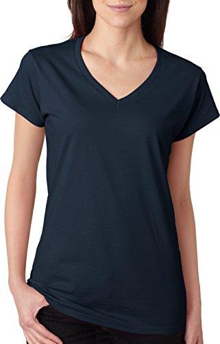 Gildan Softstyle cuello en V T-shirt de la mujer azul marino