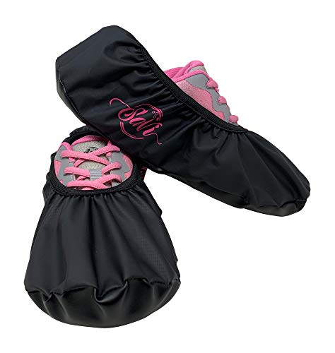 SaVi Bowling Shoe Protector Covers Pair Black/Pink_ Medium and Large Construction and Durability (Large) (Covers For Bowling Shoes)