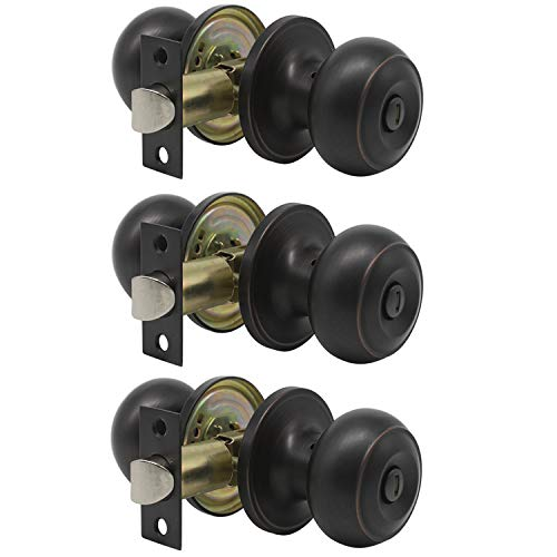 Probrico Privacy Bed and Bath Handle Leverset Oil Rubbed Bronze Door Knobs Keyless Handle Lockset 3 Pack ()