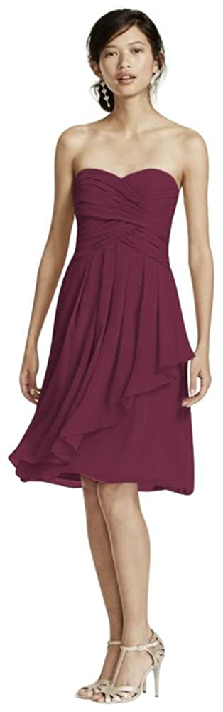 Short Crinkle Chiffon Bridesmaid Dress Front Cascade Style F14847 MORE COLORS
