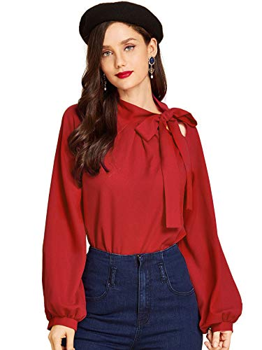SheIn Women's Side Bow Tie Neck Long Sleeve Pullover Blouse Shirt Top Medium Red