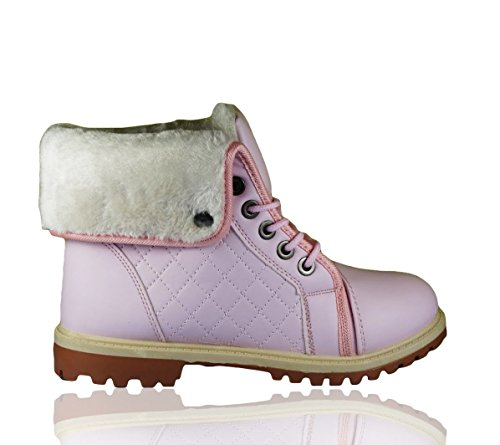 Ladies Ankle Boots Womens Fur Lined Grip Sole Trainers Girls Combat Collared Warm Winter Lace up Fashion High Top Snow Boot Pink