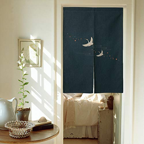 Ofat Home Design Japanese Doorway Curtain Dark Blue Traditional Painting Red Crowned Crane Naren Curtain Cotton Linen 33.5